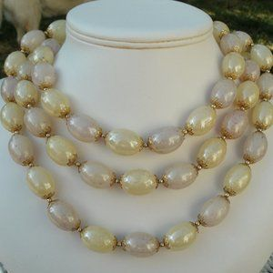 "Jewelry - Vintage 56"" Endless, Light Yellow Beaded Necklace"